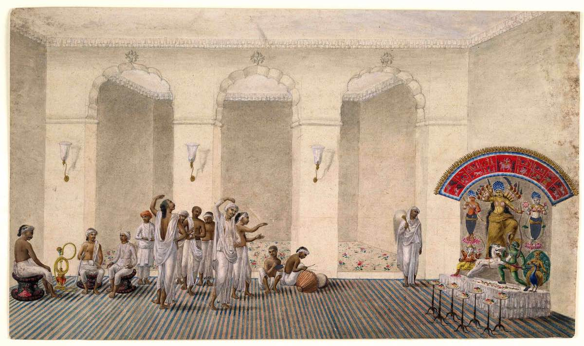 Durga_Puja,_1809_watercolour_painting_in_Patna_Style